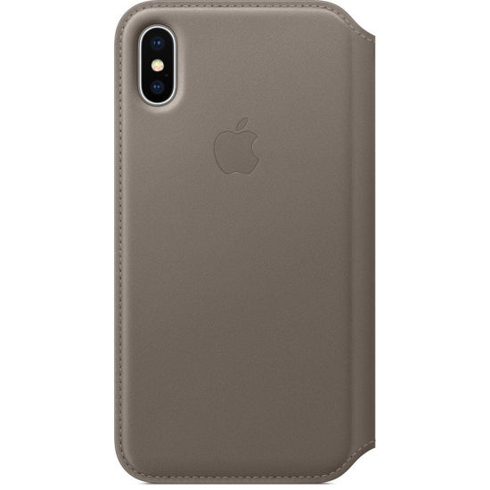 Picture of iPhone X Leather Folio in Taupe