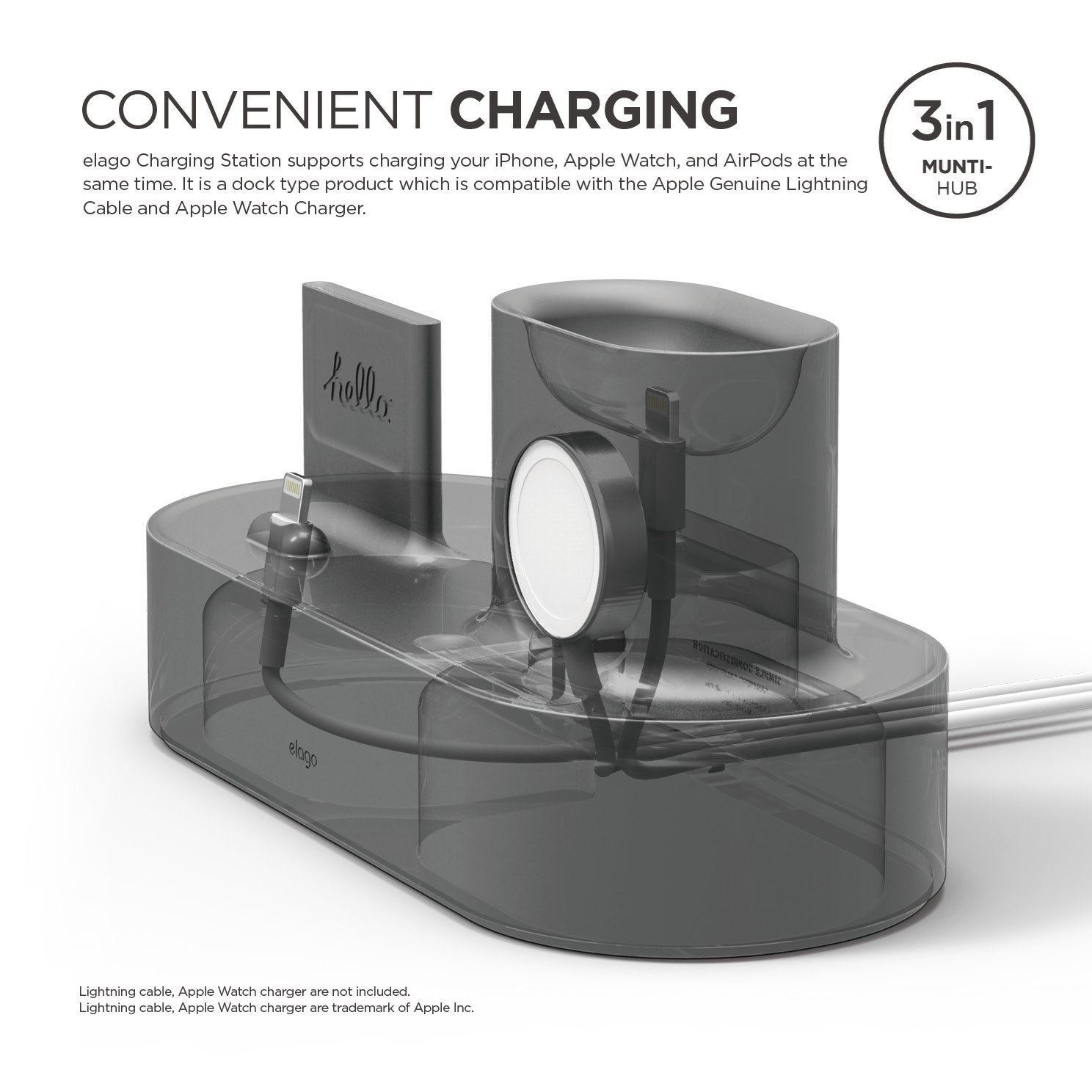 Picture of Elago Trio Charging Hub Compatible with AirPods 1st & 2nd Gen