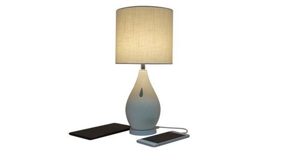 Picture of Macally Ceramic LED Table Lamp with 2 Port USB-A Charger